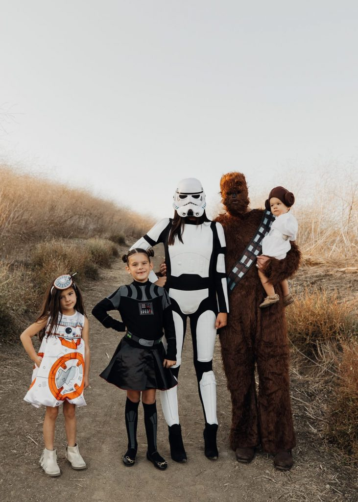 Dressing up as Star Wars characters is one of the family halloween costumes in this post.