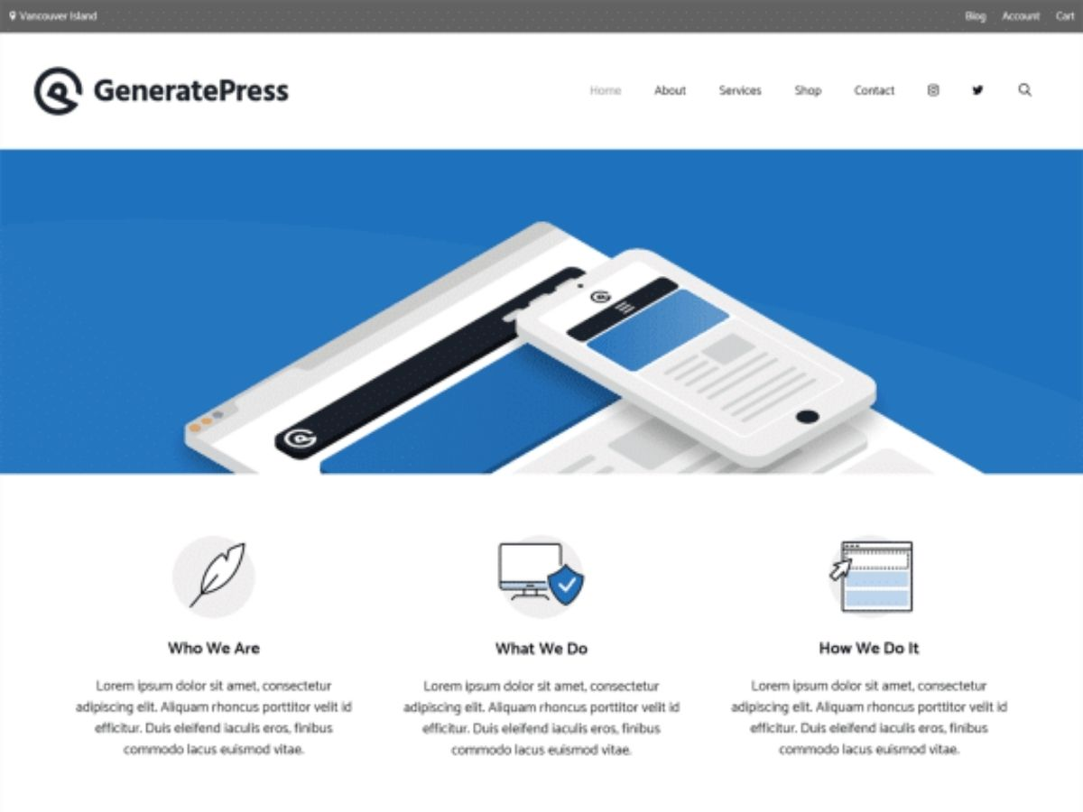 Generate Press free WordPress theme
