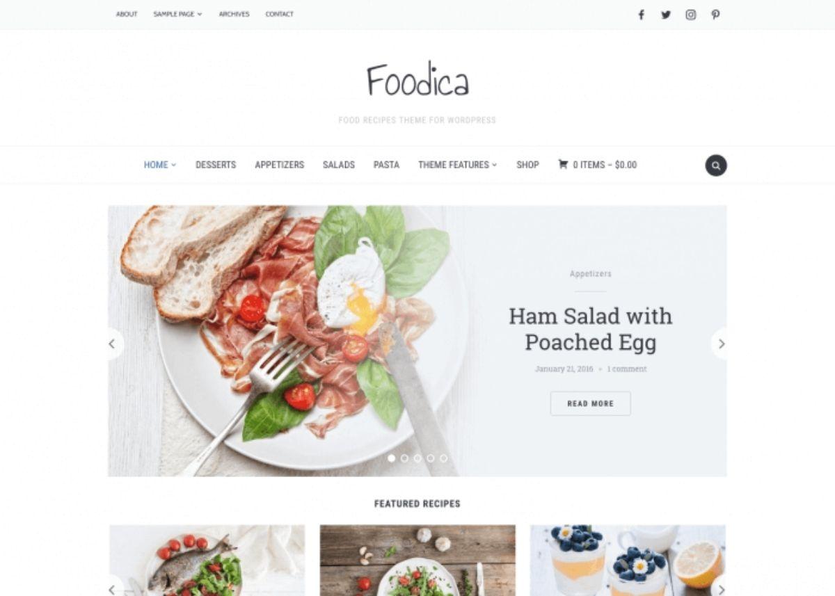 Foodica paid WordPress theme
