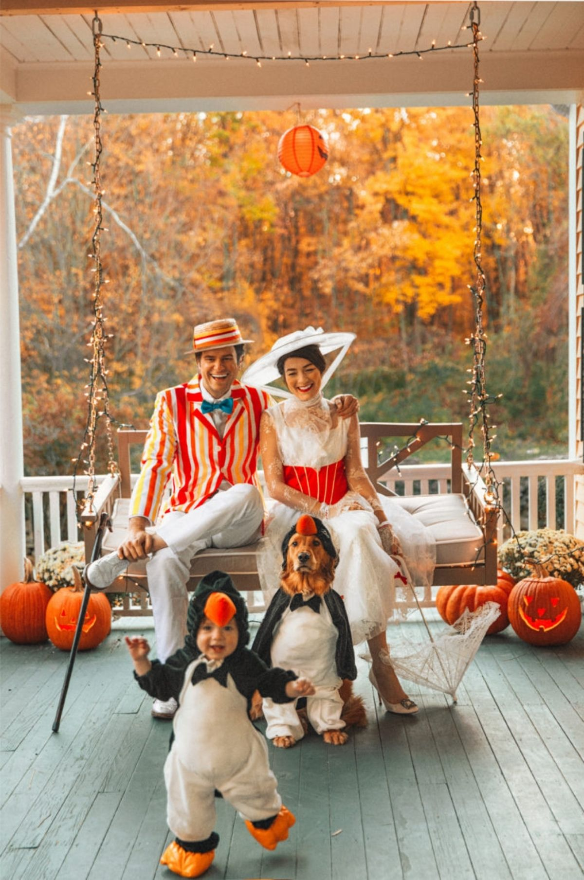 Mary Poppins, Bert, and penguin costumes
