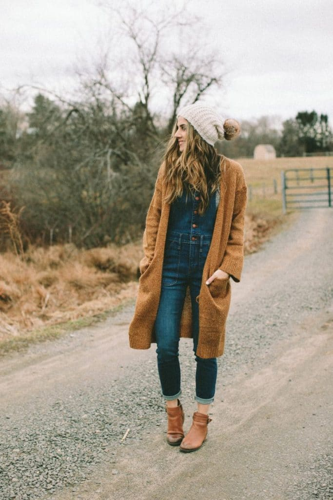 Styling overalls with oversized cardigan