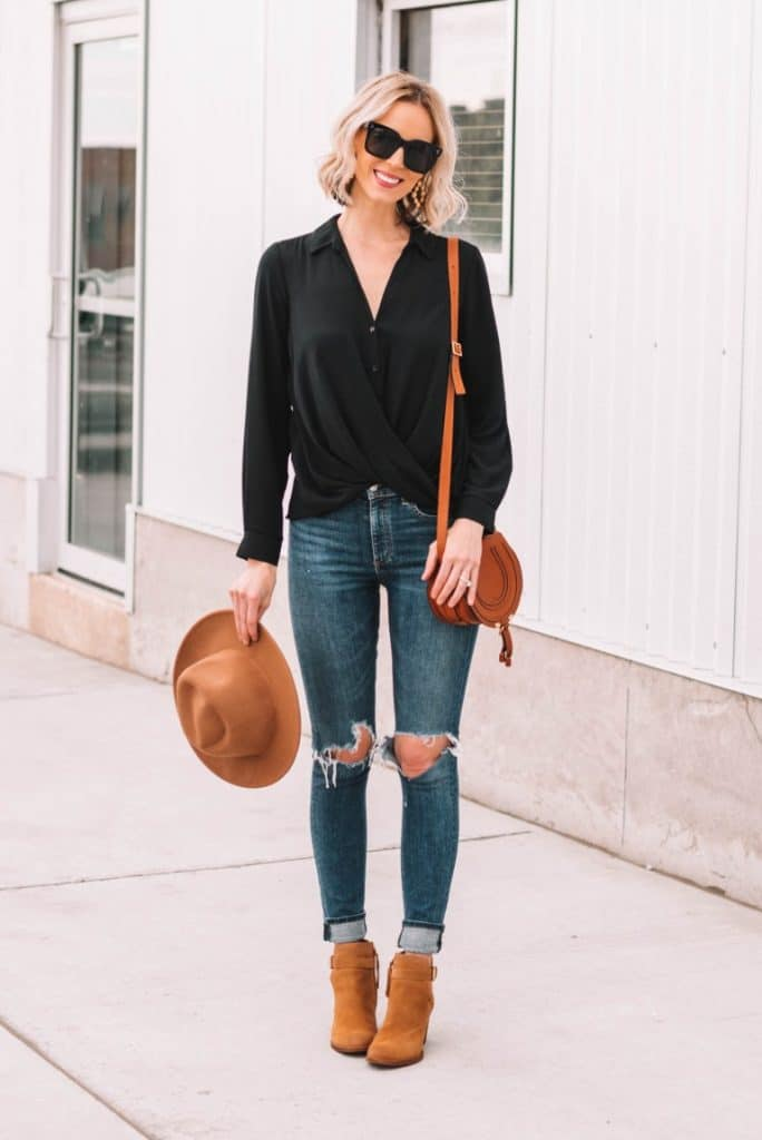 Amy from Straight A Style Blog styling her tan booties