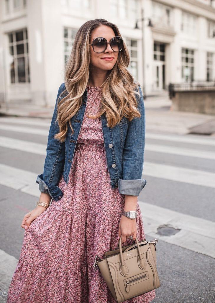 Ashley Robertson's dress plus jean jacket look.