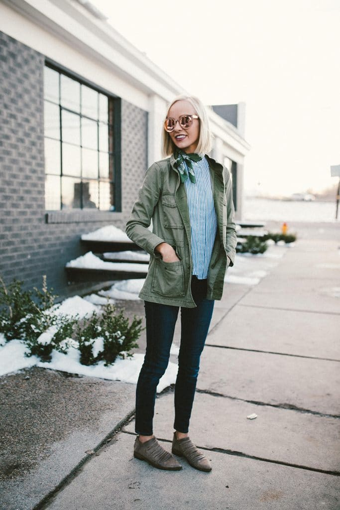Hailey Devine's fall outfit with booties