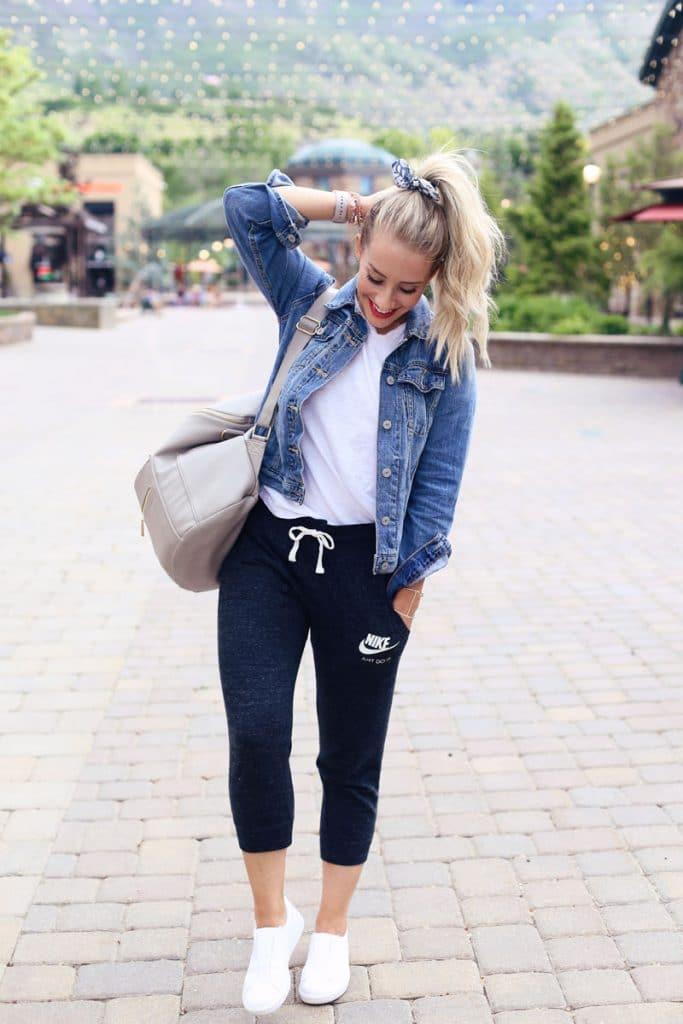 jean jacket with sweats
