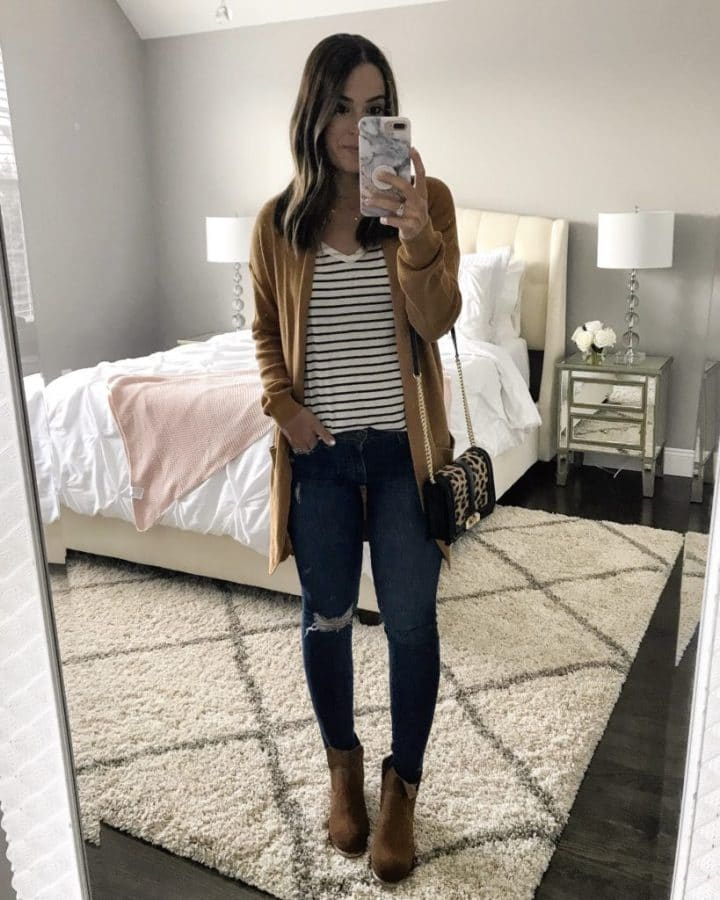Outfit styling with brown booties
