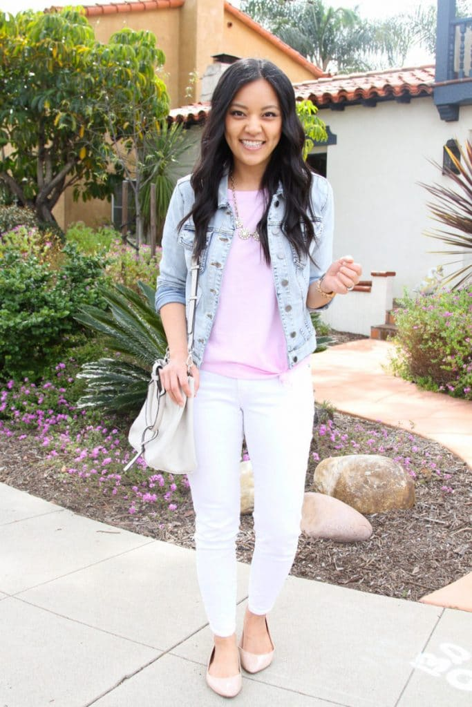 How to style a jean jacket with white jeans