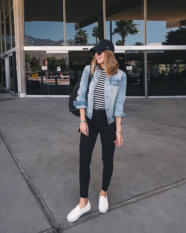 Nichole Ciotti's outfit featuring a striped shirt, white slipon shoes, jean jacket, and black skinny jeans.