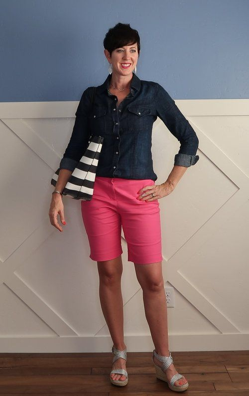See how April at Stunning Style put together a bermuda shorts outfit