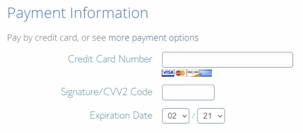 bluehost payment information fields