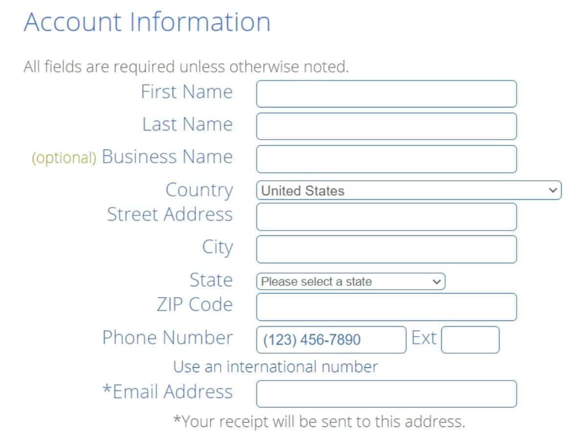 bluehost account information fields to fill out to get started