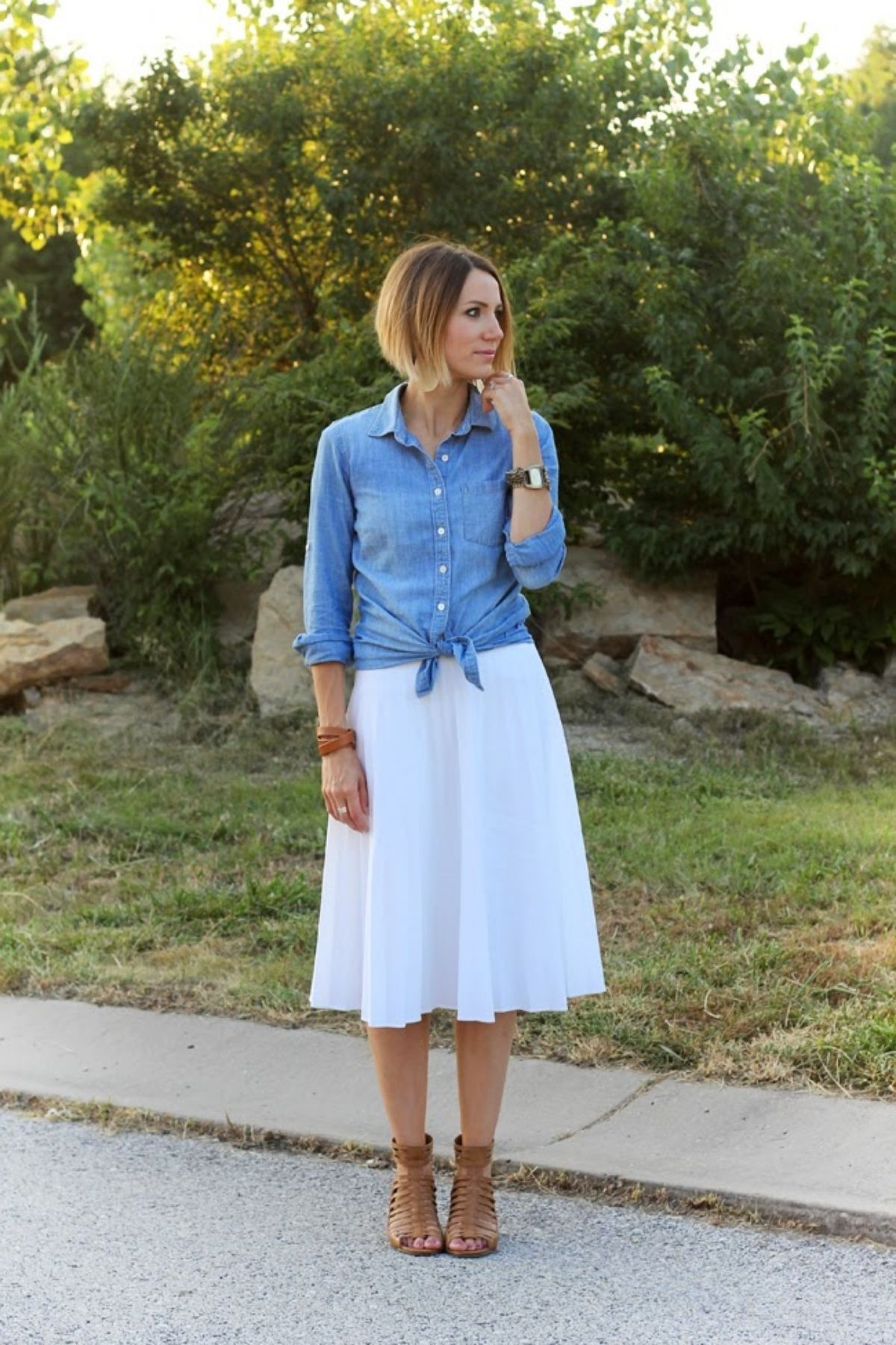 tie in a knot chambray shirt with white skirt