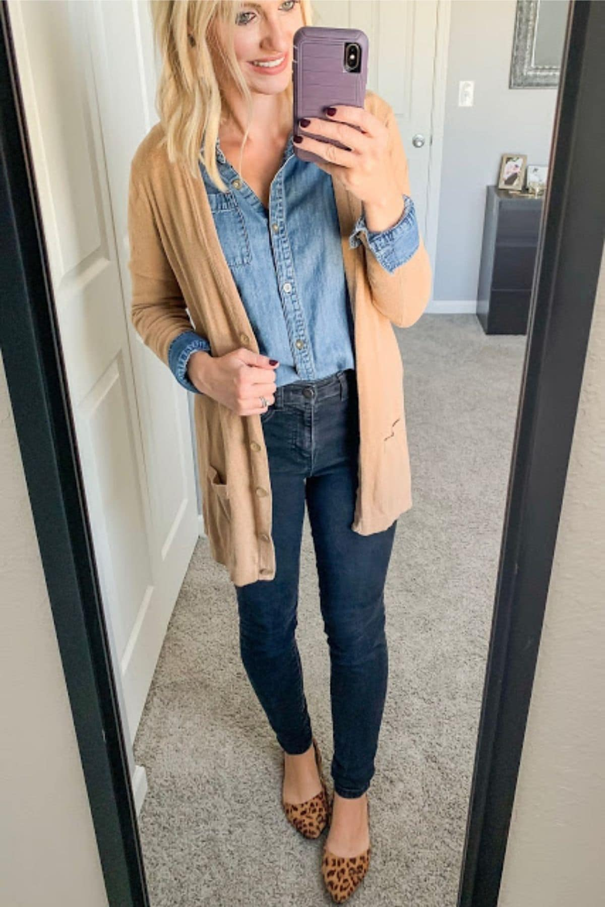 wearing chambray shirt with leopard flats