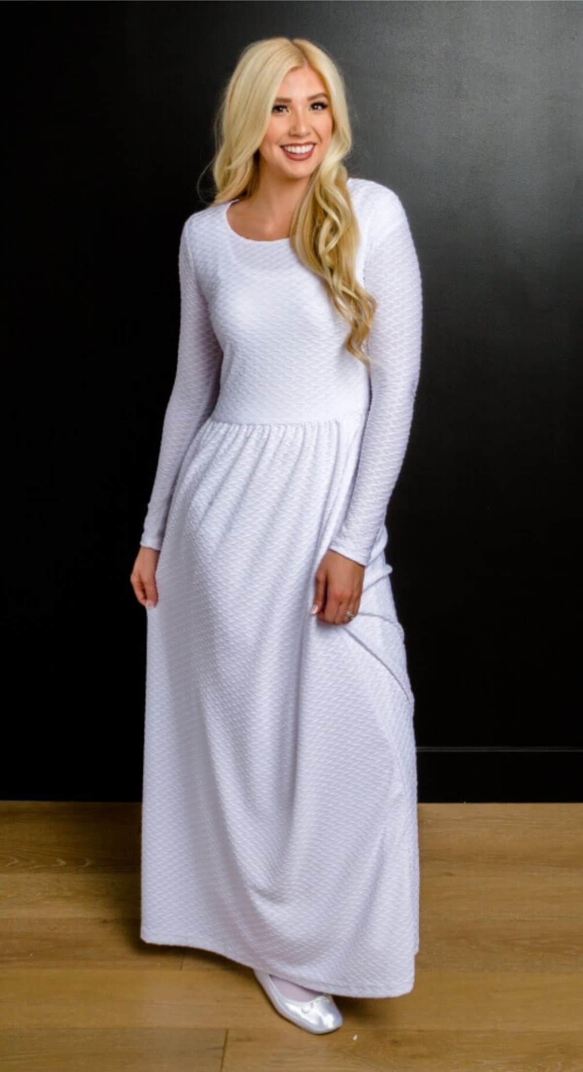 textured knit white dress