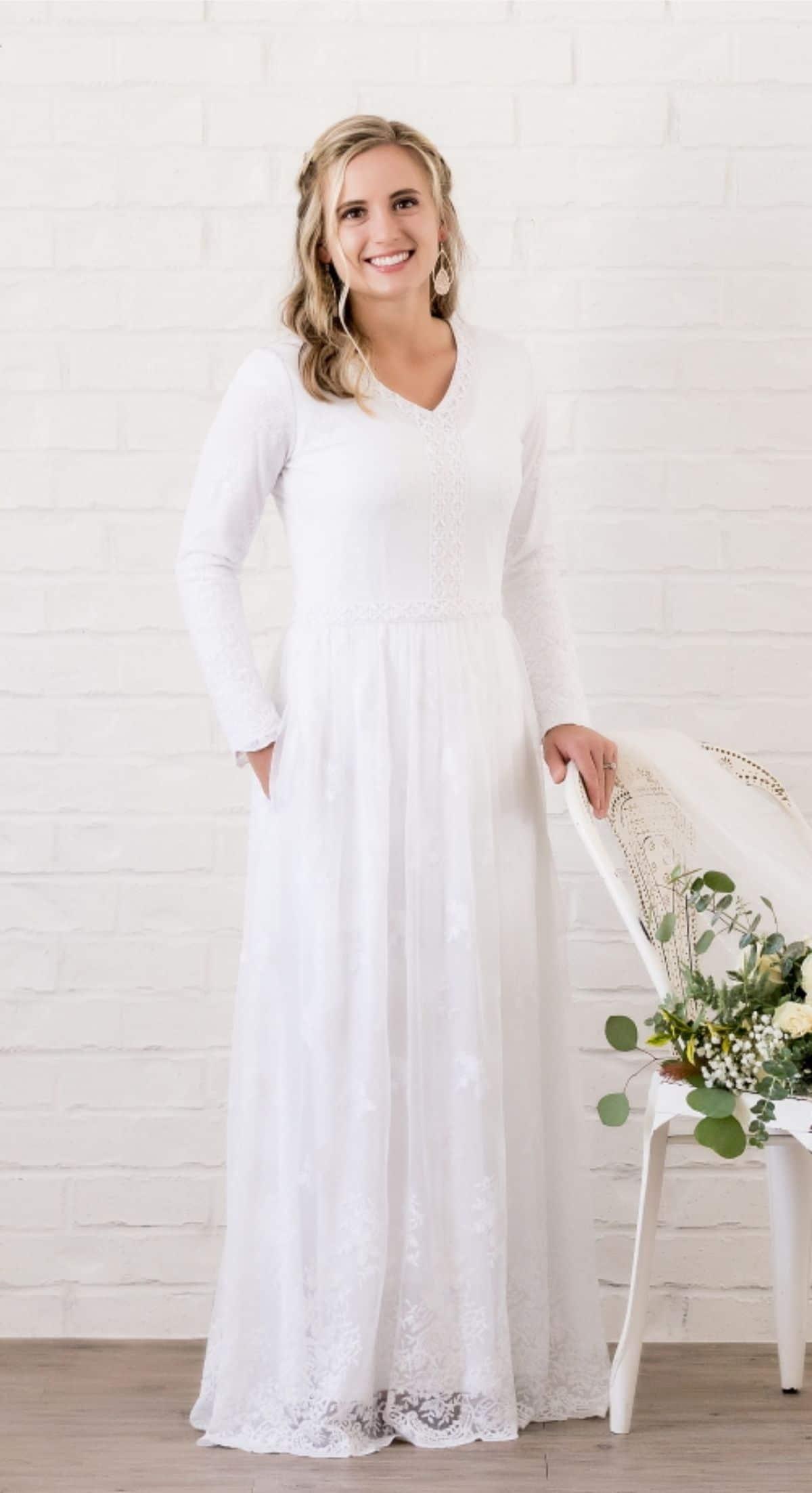 white v neck temple dress