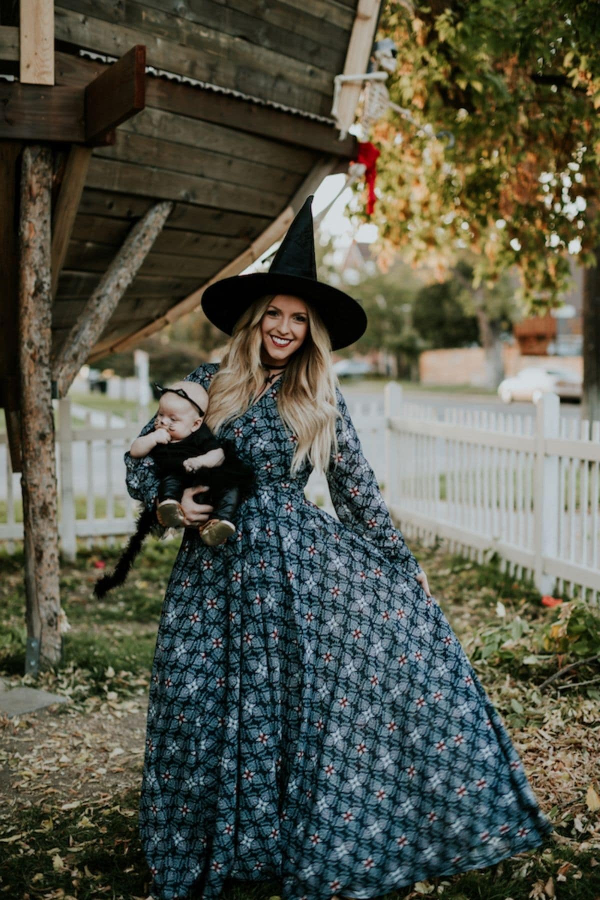 witch and black cat costumes