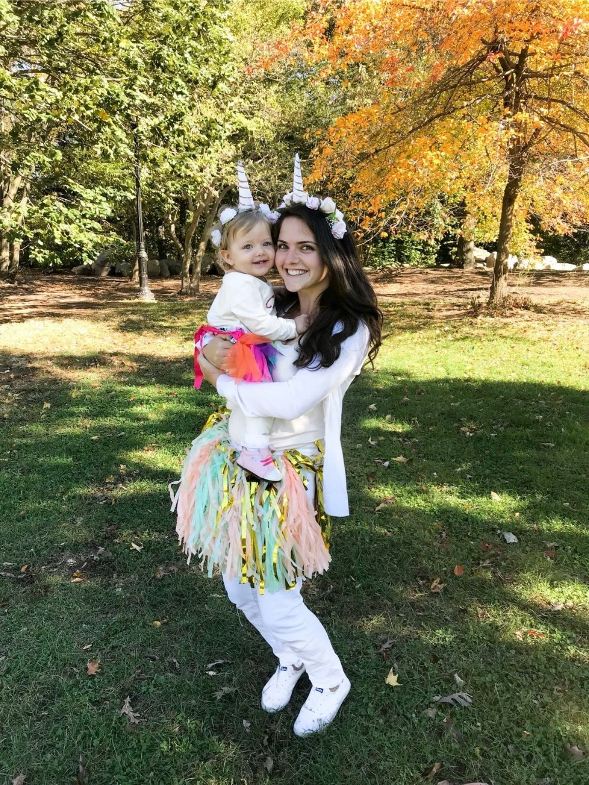 mother and daughter dressed up as unicorns