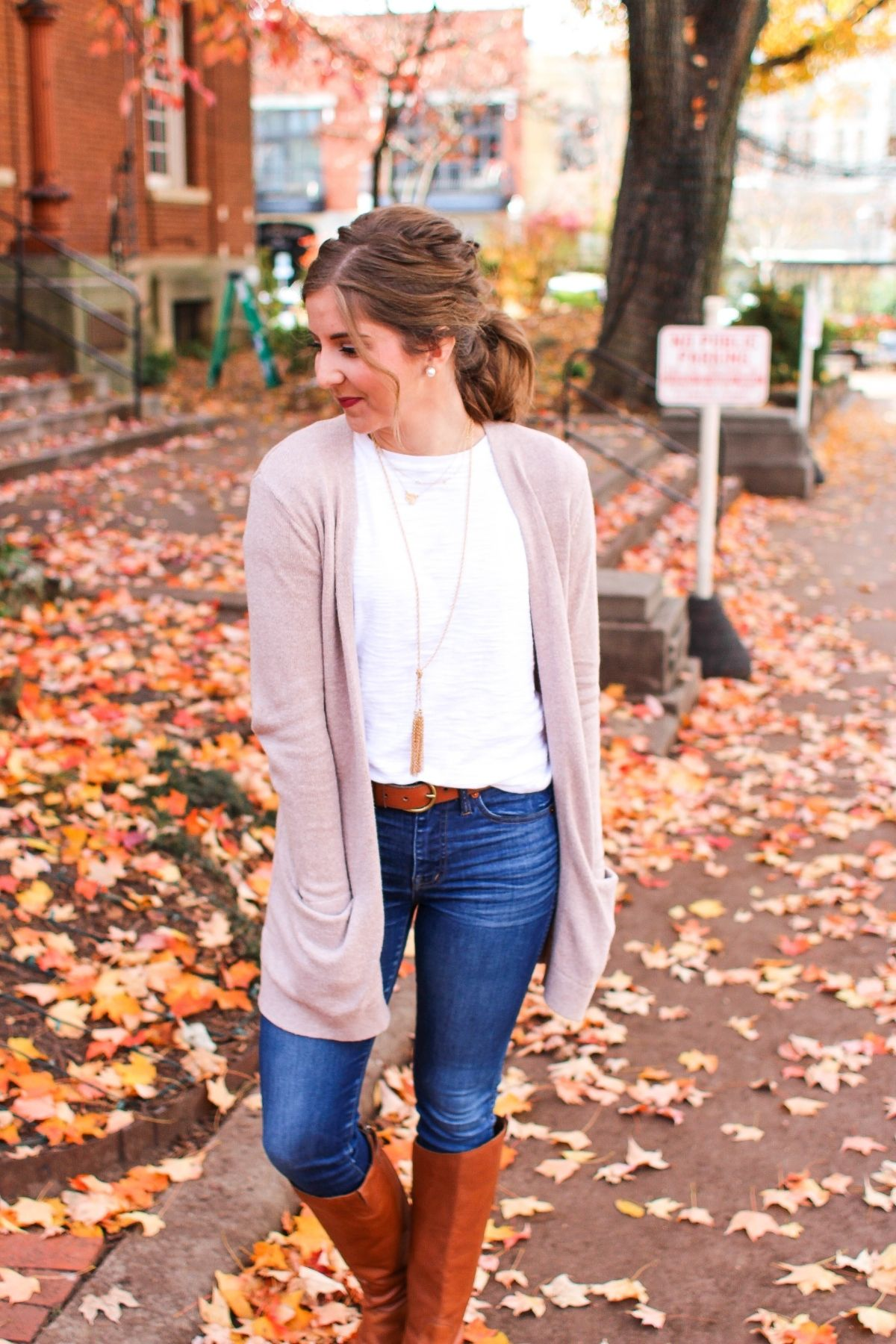 outfit featuring a solid top and long cardigan