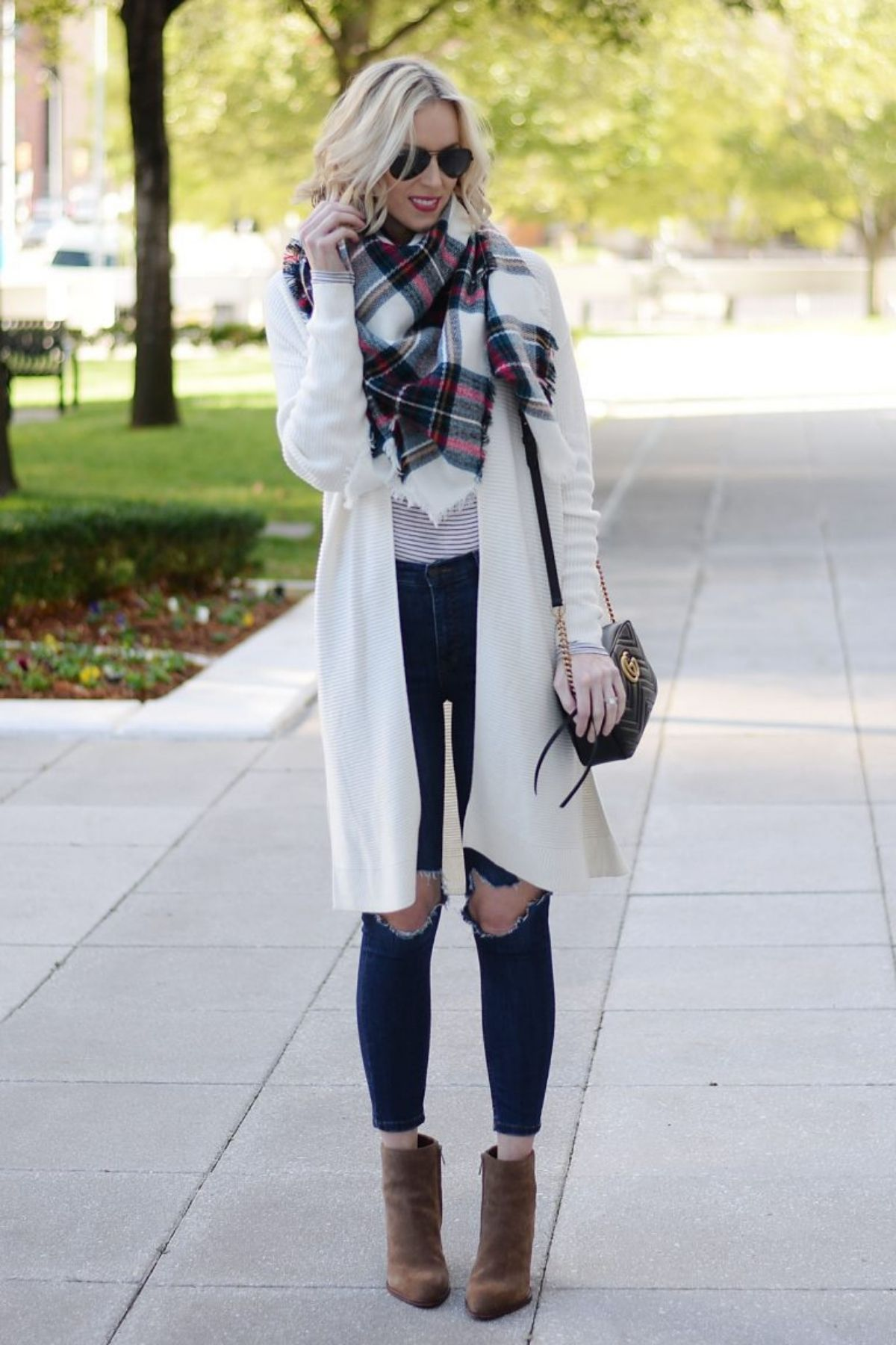 cardigan and scarf outfit