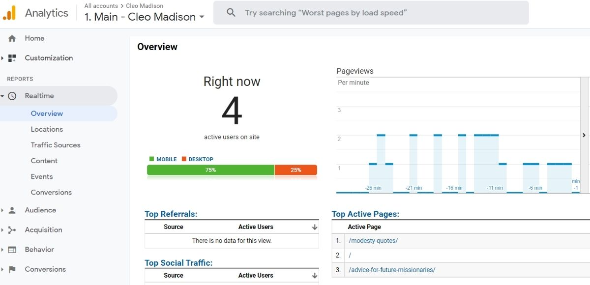 google analytics real time report