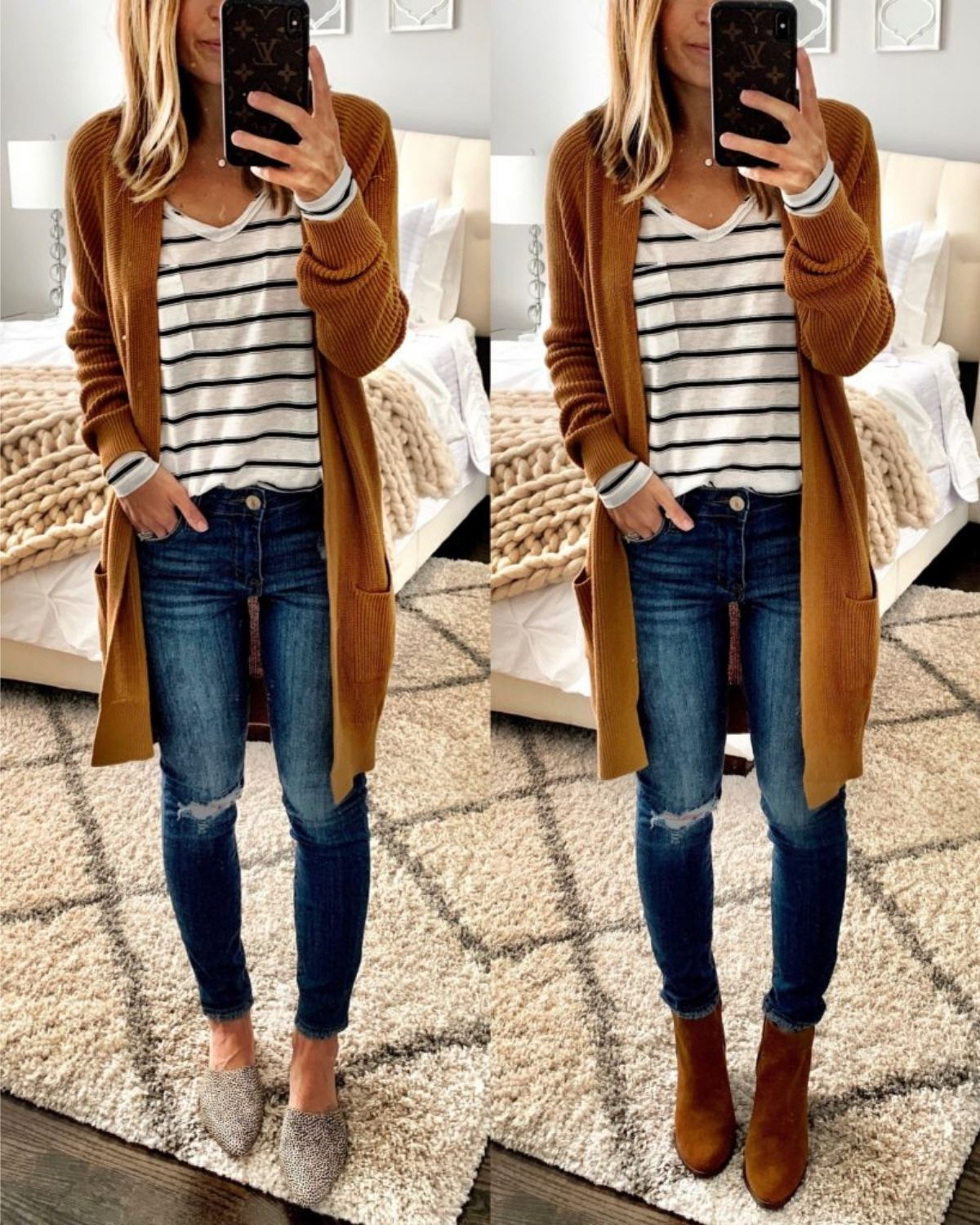 outfit with long cardigan and striped top