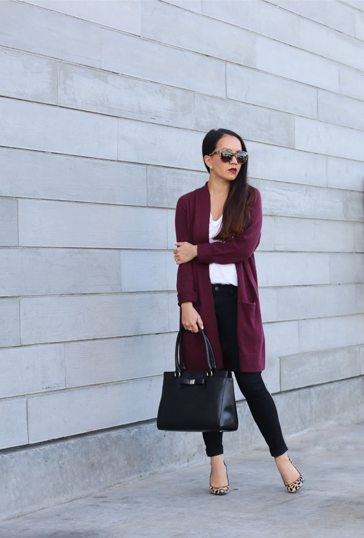 style black jeans with a cardigan