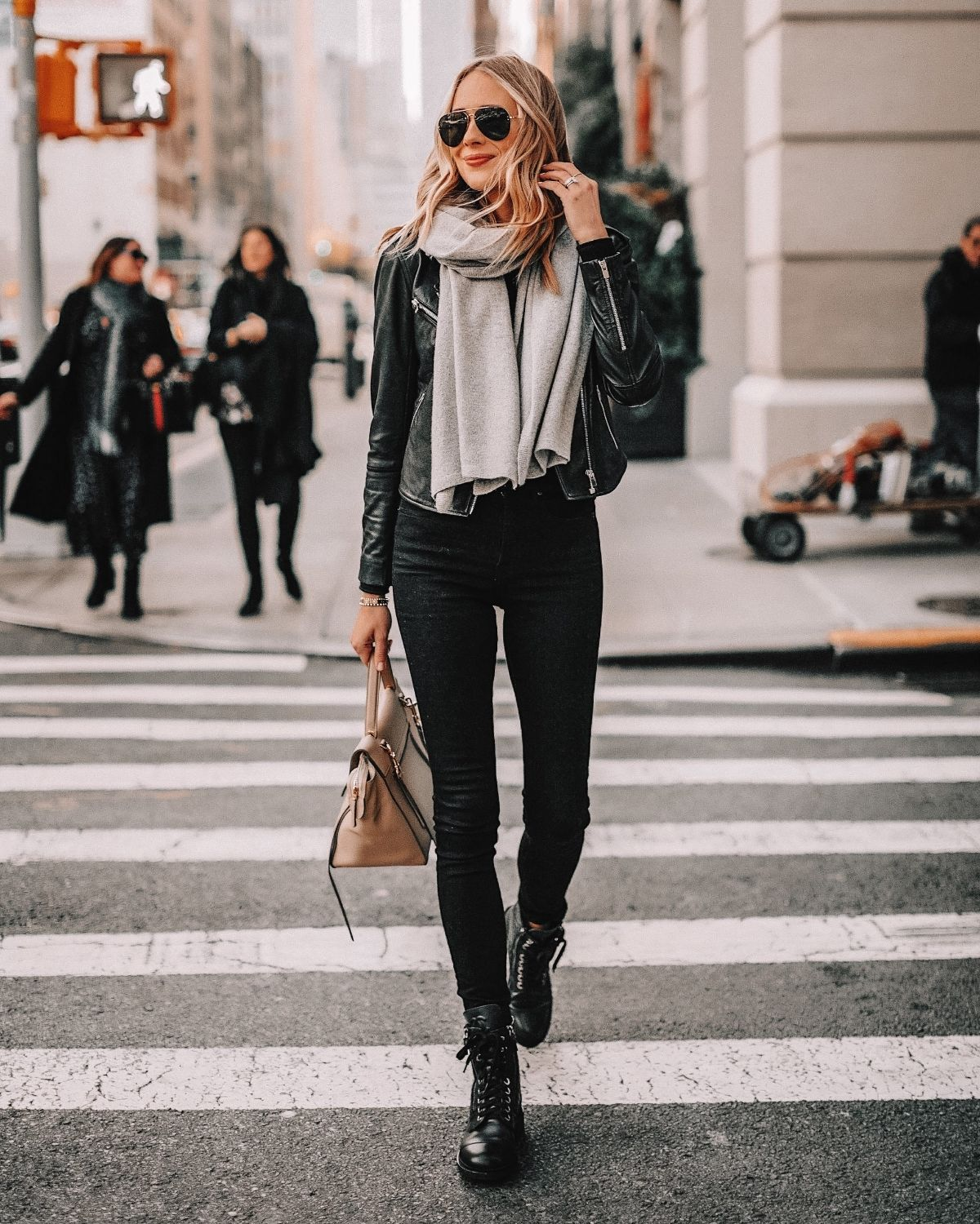 style black jeans with a leather jacket