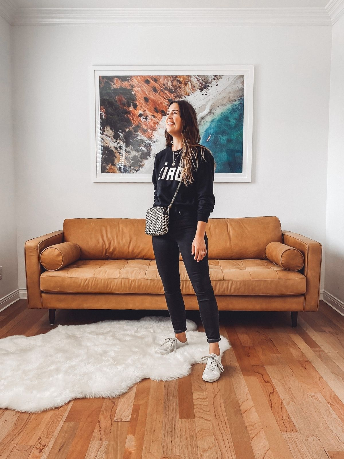style black jeans with a sweatshirt