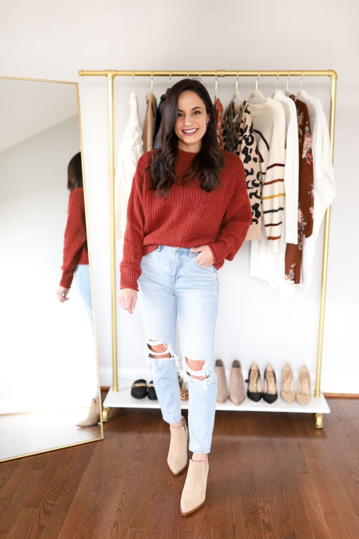 style mom jeans with a sweater