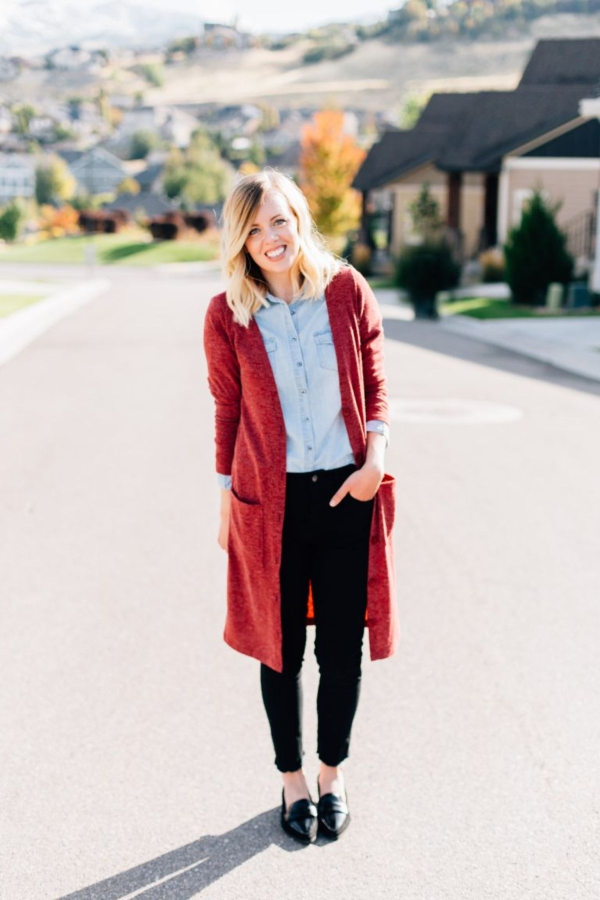 styling long cardigan with button down shirt