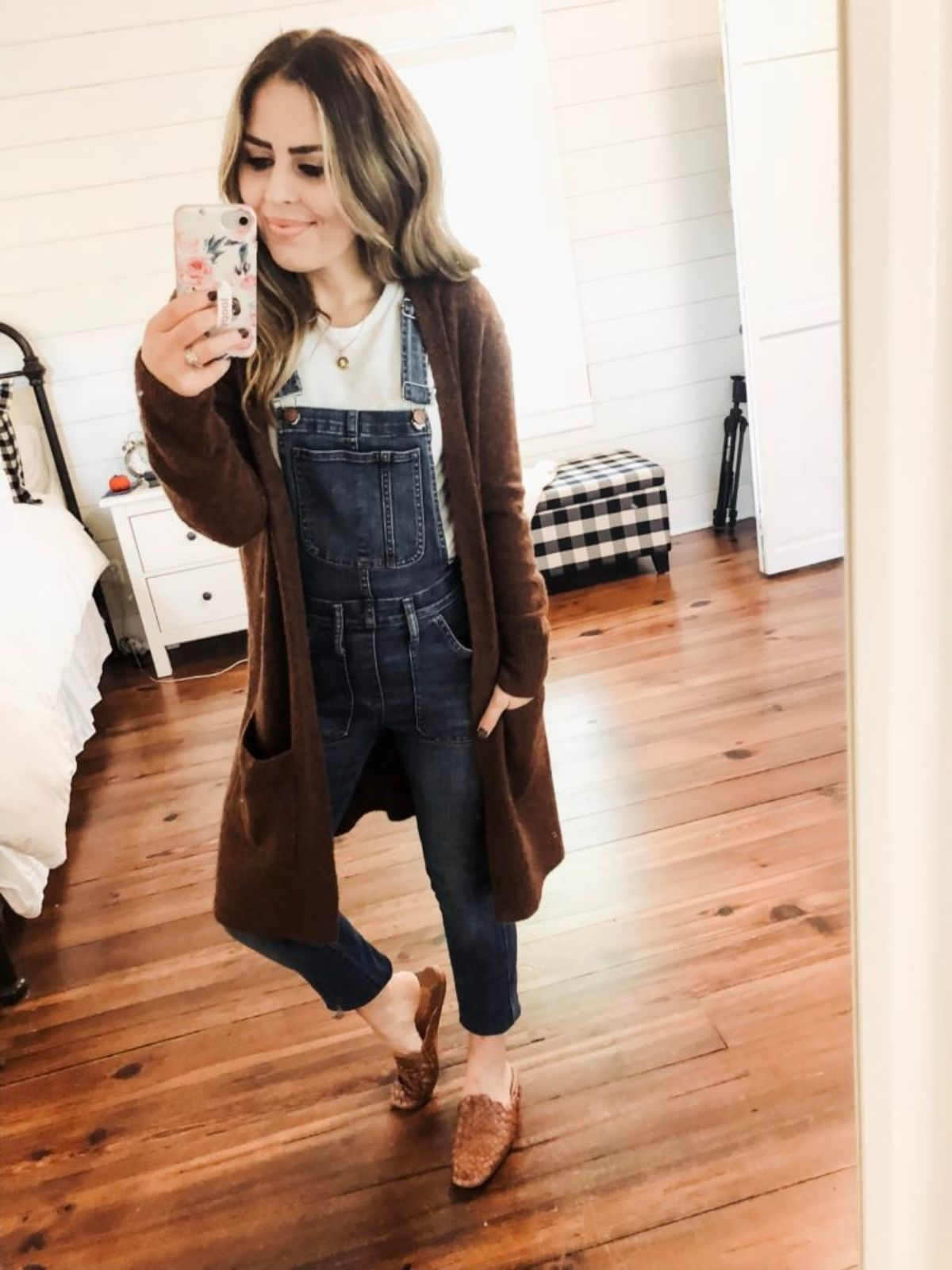 styling cardigan with overalls