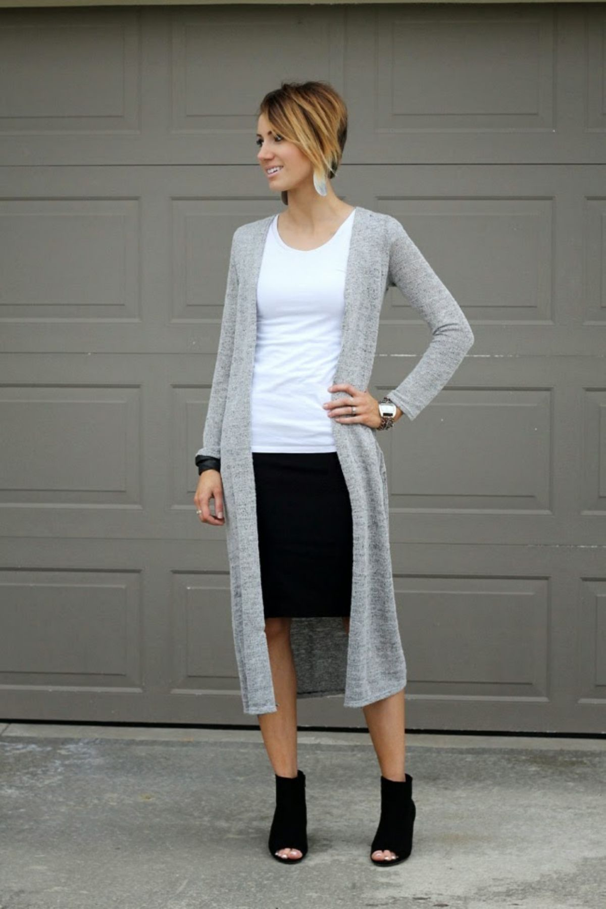 outfit with skirt and cardigan