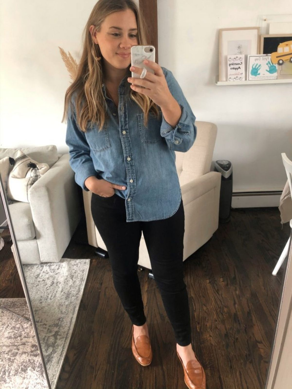wear chambray with black jeans