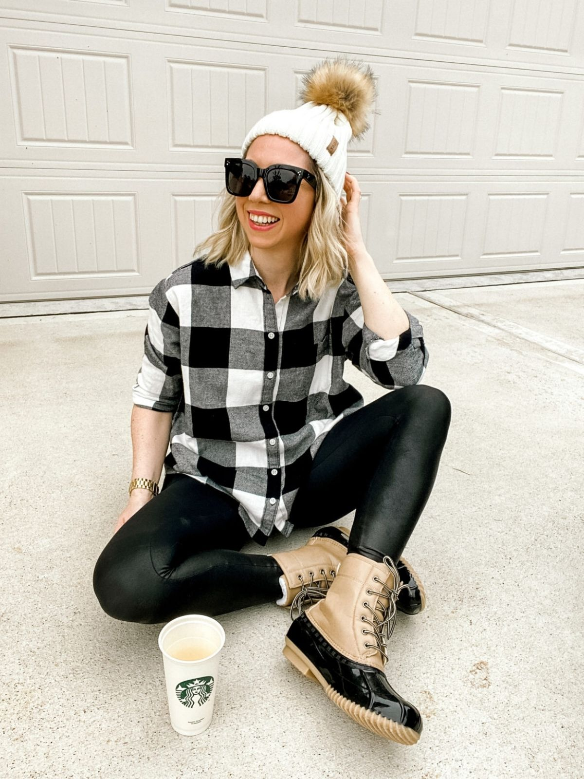 style plaid flannel shirt with leather leggings