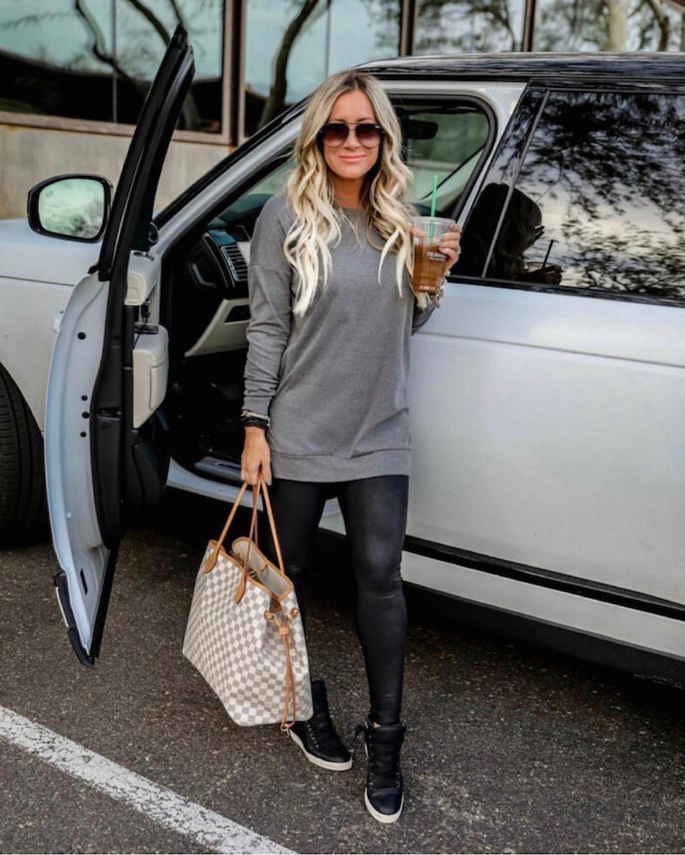 style leather leggings with sweatshirt