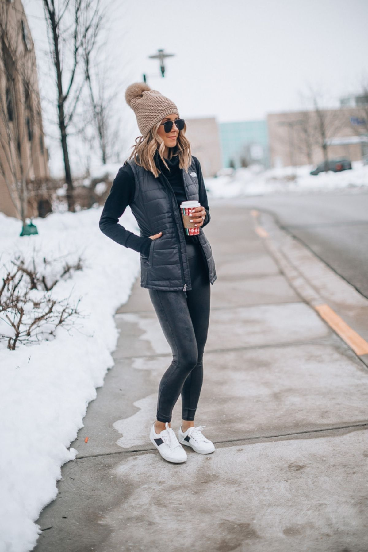 style leather leggings with vest