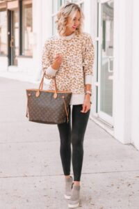 style leather leggings with a sweater