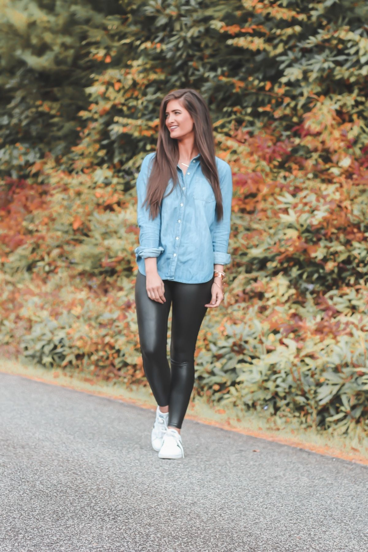 wear leather leggings with button down shirt