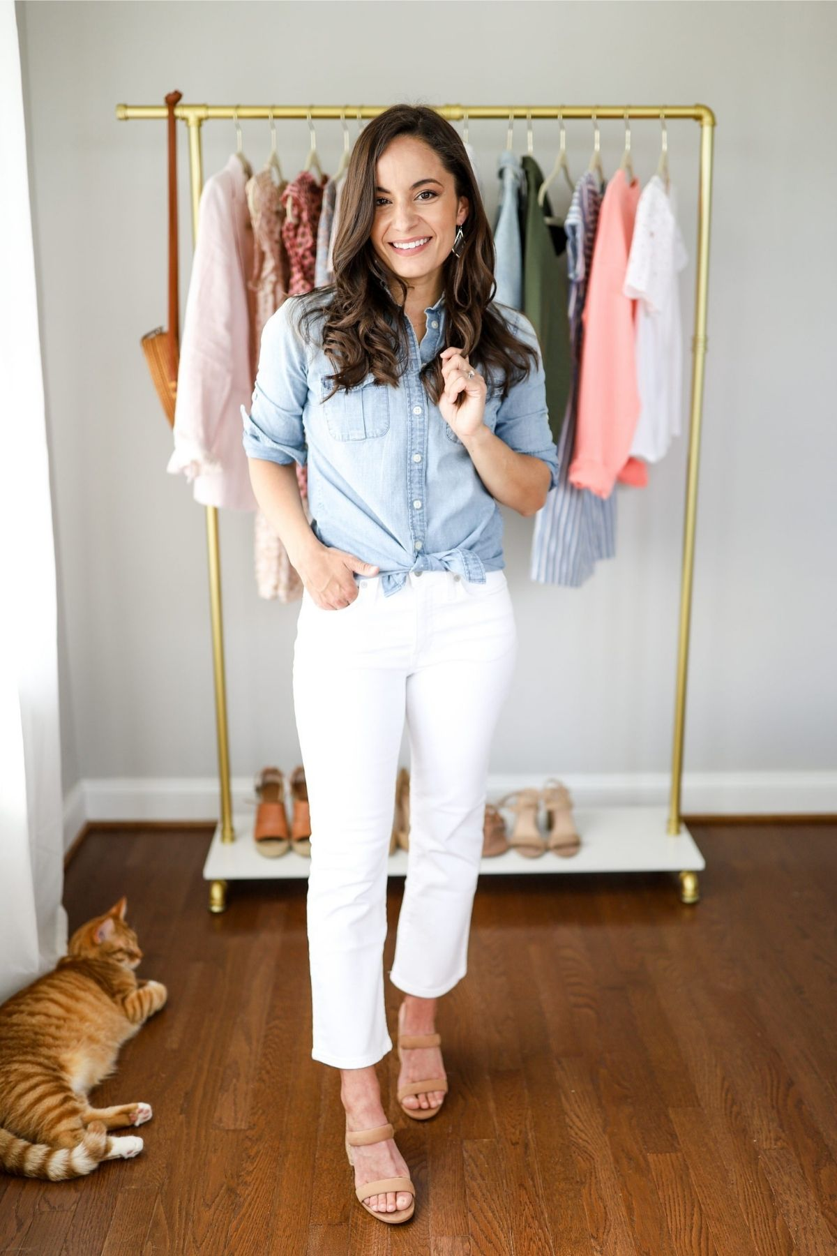 style button down shirt with cropped flare jeans
