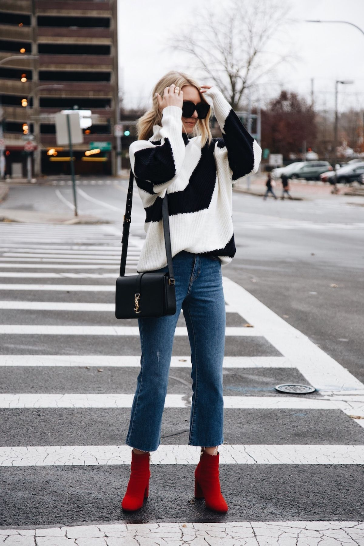 wear a sweater with cropped flare jeans